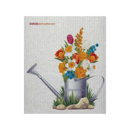 Flowers in a Watering Can Swedish Dishcloth