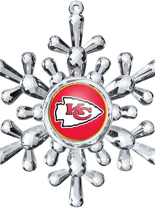 Chiefs Acylic Snowflake - Cut Crystal Design Ornament