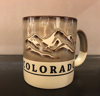 Colorado two tone-Tan Rustic Mug - with mountain scene