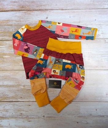 Ensemble bébé patchwork animaux carré
