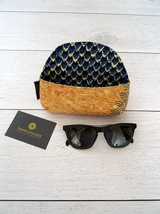 Étui à lunettes en liège motif Japonais Seigaiha bleu