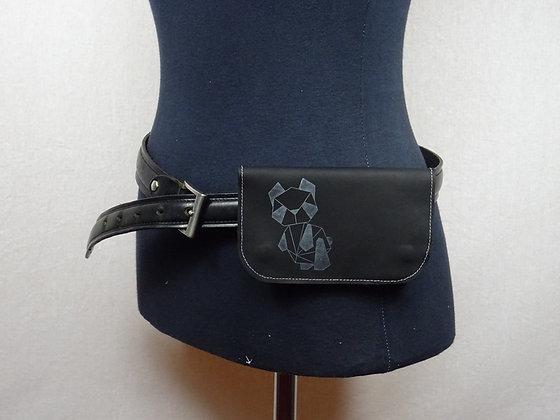 Blague à Tabac cuir noir et panda origami