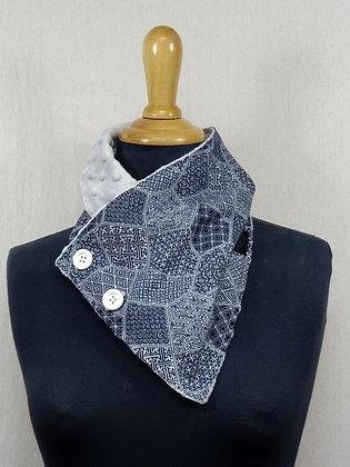 Col écharpe Japonais bleu gris