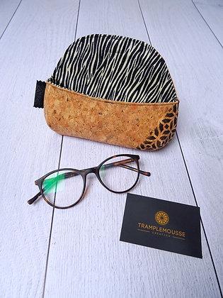 Étui à lunettes en liège motif zèbre