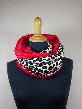 Snood léopard rouge