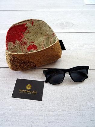 Étui à lunettes en liège motif mappemonde