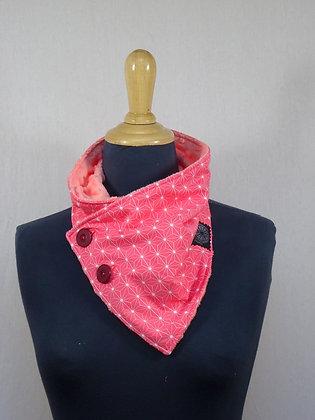 Col écharpe motif Japonais rose saumon