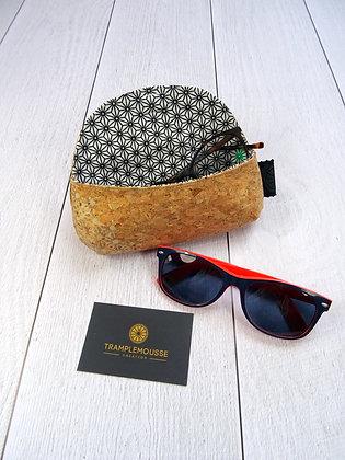 Étui à lunettes en liège motif Japonais Asanoha blanc