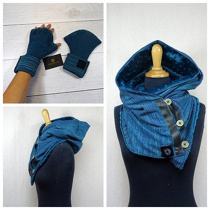 Ensemble écharpe-capuche et mitaines rayures bleues