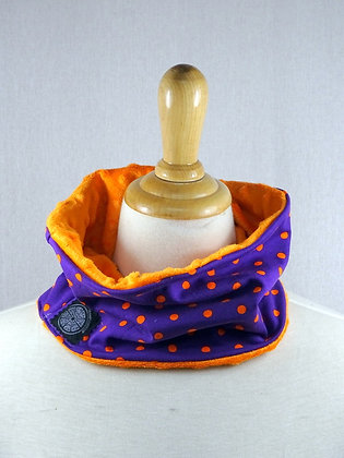 Snood enfant pois violet/orange