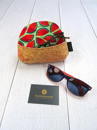 Étui à lunettes en liège motif cachemire et pastèque
