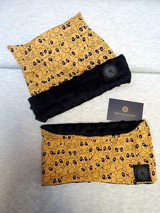 Bonnet et snood panda jaune
