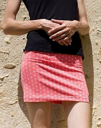 Mini-jupe asanoha corail
