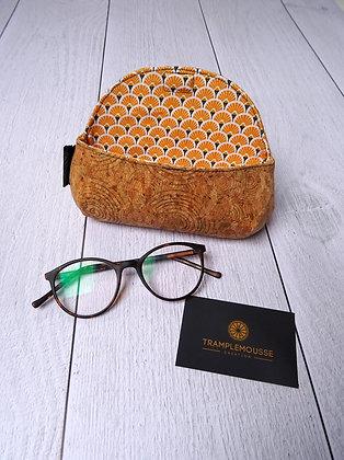 Étui à lunettes en liège motif Japonais jaune