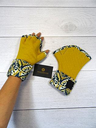 Mitaines palmées ethnique jaune