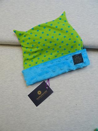 Bonnet enfant vert à pois bleus