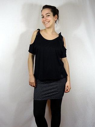Mini-jupe géométrique/noir et blanc