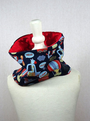 Snood enfant animaux volants rouge