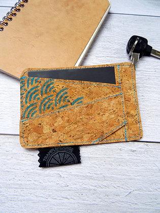 Porte-carte Seigaiha bleu