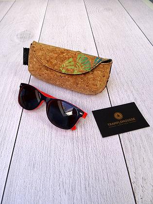 Étui à lunettes en liège motif Japonais soleil