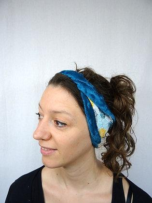 Bandeau hiver torsadé Ginkgo bleu