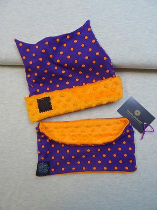 Bonnet et snood enfant violet à pois oranges
