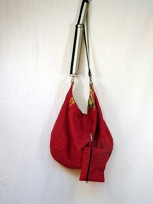 Besace suédine rouge avec pochette
