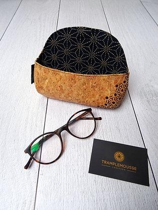 Étui à lunettes en liège motif Japonais Asanoha noir