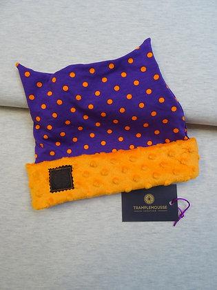 Bonnet enfant violet à pois oranges