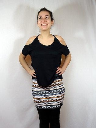 Mini-jupe imprimé géométrique orange et gris