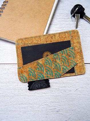Porte-carte Seigaiha vert