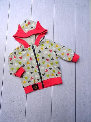 Sweat zippé bébé triangles rose