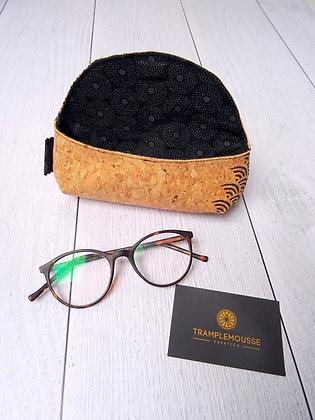 Étui à lunettes en liège motif Japonais Seigaiha noir