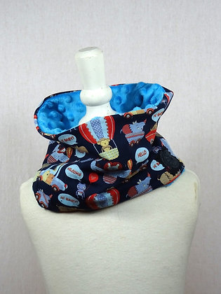 Snood enfant animaux volants bleu