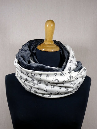 Snood old school diamants gris