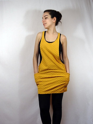 Robe salopette jaune moutarde