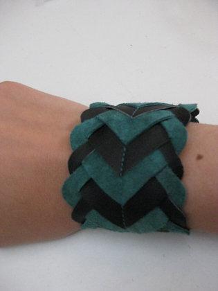 Bracelet Caméléon vert canard et noir