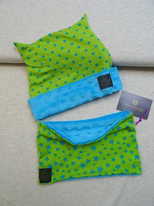 Bonnet et snood enfant étoiles vert/ bleu