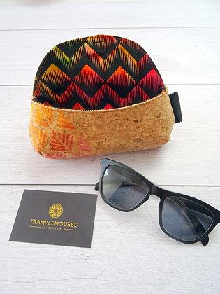 Étui à lunettes en liège et batik