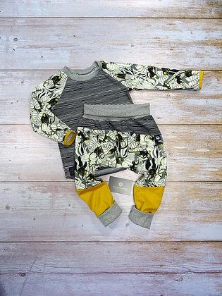 Ensemble bébé patchwork singe jaune