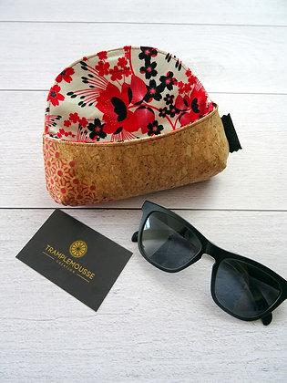 Étui à lunettes en liège motif Japonais et fleurs rouges