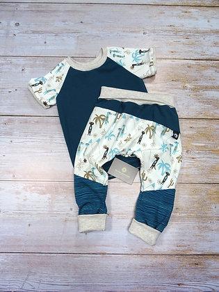 Ensemble bébé patchwork suricates