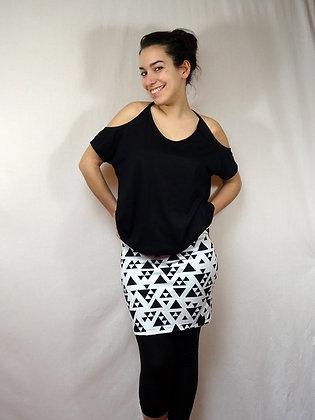 Mini-jupe imprimé triangles noirs sur blancs