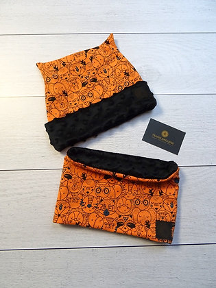 Bonnet et snood enfant animaux orange