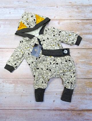 Ensemble sweat et sarouel bébé animaux beige