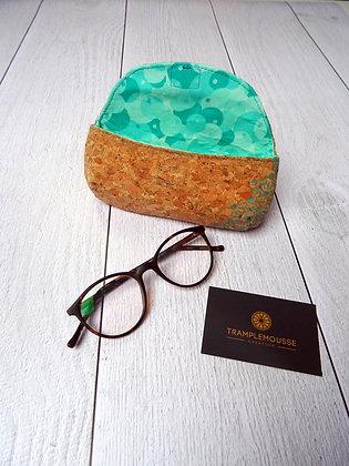 Étui à lunettes en liège motif Japonais Asanoha vert
