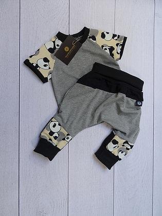 Ensemble bébé patchwork panda crème 9 mois