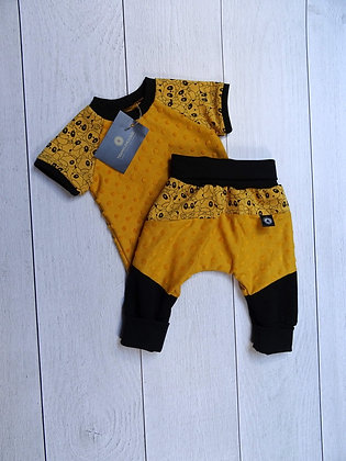 Ensemble bébé patchwork panda jaune
