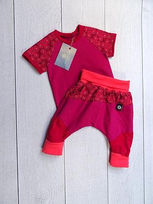 Ensemble bébé patchwork pétales rose