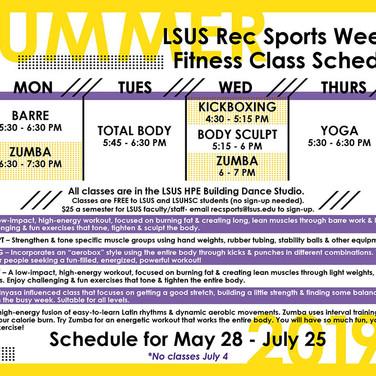 Rec Sports Fitness Class Schedule